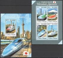 ST1722 2013 S. TOME E PRINCIPE TRAINS COMBOIOS VELOCIDADE JAPONESES KB+BL MNH - Trenes