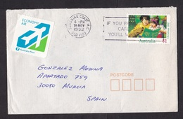Australia: Airmail Cover To Spain, 1992, 1 Stamp, Rare Label Economy Air, Cancel Sunshine Coast (damaged At Back) - 1990-99 Elizabeth II