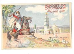 MARSEILLE (13) Carte Illustrée Exposition Coloniale 1922 Palais De L'Algérie - Expositions Coloniales 1906 - 1922