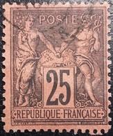 FRANCE Y&T N°91a Sage 25c Noir Sur Rouge Foncé. Oblitéré CàD - 1876-1898 Sage (Type II)