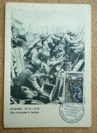 Carte Postale Maximum Guerre 1914-1918 Une Tranchée à Verdun Oblitération Premier Jour 3 Mars 1956 - Cartas Máxima