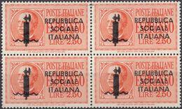 REPUBBLICA SOCIALE ITALIANA - 1944 - Quartina Nuova MNH (seconda Scelta) Di Espresso Yvert 4, Come Da Immagine. - 4. 1944-45 Sozialrepublik