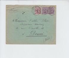 N° 139 ET 140 EN RECOMMANDE DE PERUWELZ VERS DOUAI ENVELP OEUVRE ST CHARLES A GRAMMONT - 1915-1920 Albert I