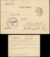 P0469 - DR Feldpost Nummer Formular Postkarte: Gebraucht Feldpost Nr. 46497 RAD - Wien 1942. Bedarfserhaltung. - Alemania