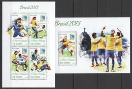ST1751 2013 S.TOME E PRINCIPE SPORT FOOTBALL BRASIL 2013 KB+BL MNH - 2014 – Brasilien
