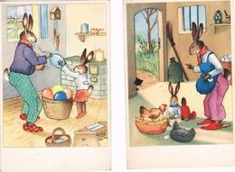 2 Cartes Lapin Humanise-dressed Rabbit- Geklede Hazen - Animali Abbigliati