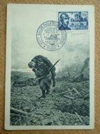 Carte Postale Affranchie Colonel Driant Oblitération XII ème Salon Philatélique D'automne 1958 Signature Graveur Decaris - Marcofilie (Brieven)