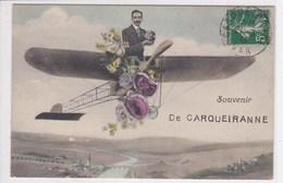 83 CARQUEIRANNE  Avion Apportant Souvenir Avec Fleurs - Carqueiranne