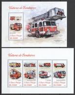 ST1773 2013 S.TOME E PRINCIPE TRANSPORT FIRE TRUCK VIATURAS DE BOMBEIROS KB+BL MNH - Vrachtwagens