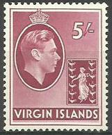 Virgin Islands - 1938 King George VI Definitive 5s Purple-red MNH **   Sc 85 - British Virgin Islands