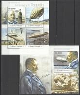 ST1817 2013 S. TOME E PRINCIPE 175TH ANNIVERSARY FERDINAND VON ZEPPELIN KB+BL MNH - Zeppelins