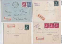 4 X  RECOMMANDE DE GOSSELIES - 2X  1946 -  1947 - 1951 - 1936-1957 Open Collar