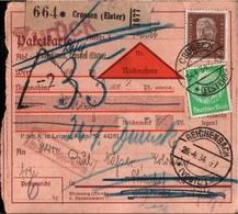! 1934 Paketkarte Deutsches Reich, Nachnahme, Zurück, Crossen An Der Elster, Reichenbach Vogtland - Deutschland