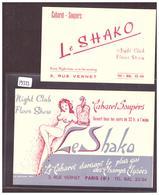 PARIS - 2 CARTES - CABARET LE SHAKO  - TB - Pubs, Hotels, Restaurants