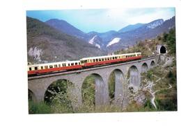 Cpm - 06 - PEILLE VIADUC DE Faquin TRAIN AUTOMOTEUR 385 Nice-Breil Sur Roya Formé D'un EAD X 4500 Jumelé Autorail X 3800 - Trains
