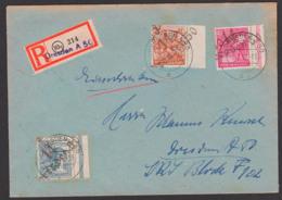 SBZ Handstempel R-Brief DRESDEN A50, 2.7.48, Je Randstück, Ungeprüft Auf Umschlag Von Landesregierung Sachsen - Sowjetische Zone (SBZ)