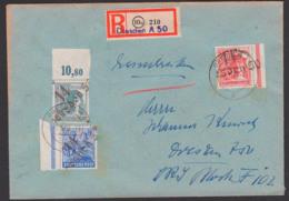 SBZ Handstempel R-Brief DRESDEN A50, 2.7.48, Je Randstück, Ungeprüft Auf Umschlag Von Landesregierung Sachsen - Zona Soviética
