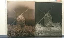 MOULINS EQUIPES DE 4 AILES - PLAQUE DE VERRE PHOTO 12 X 9 CM - LOT DE 2 - Plaques De Verre