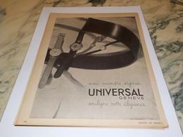 ANCIENNE PUBLICITE MONTRE SIGNEE UNIVERSAL  1943 - Bijoux & Horlogerie