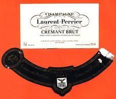 étiquette + Collerette De Champagne Crémant Brut Laurent Perrier à Tours Sur Marne - 75 Cl - Champan