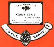 étiquette + Collerette De Champagne Brut Claude Remy à Allemant - 75 Cl - Champagne
