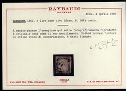 ITALIA REGNO ITALY KINGDOM 1861 EFFIGIE RE VITTORIO EMANUELE II KING LIRE 3 RAME VIVO USATO USED OBLITERE' CERTIFICATO - 1861-78 Victor Emmanuel II.