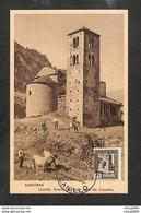ANDORRE - ANDORRA - Carte MAXIMUM 1943 - Canillo, Ermita De Sant Jean De Casellas - RARE - Maximum Cards