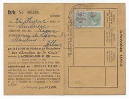 1952 - FISCAL TAXE PISCICOLE Sur CARTE De La SOCIETE De PECHE De L'ALLIER - Fiscaux