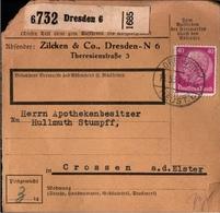 ! 1934 Paketkarte Deutsches Reich, Dresden, Crossen An Der Elster - Storia Postale