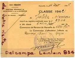 - Militaria - Commission De Révision Se Marseille, Classe 1942, Exempté, Cachet, 11 Juillet 1945, TBE,  Scans. - Documents