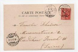 - Carte Postale NICE Pour ZURICH (Suisse) 31.12.1901 - 10 C. Rouge Type Mouchon - - Marcophilie (Lettres)