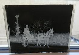 VOITURE A CHEVAL CHARETTE - PLAQUE DE VERRE PHOTO 12 X 9 CM - Plaques De Verre