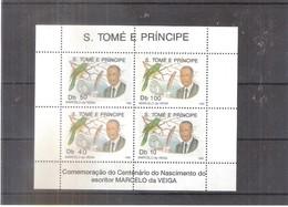 Sao Tomé E Principe - Centenaire Naissance De L'écrivain Marcelo Da Veiga - Petit Feuillet Complet - XX/MNH - Sao Tome Et Principe