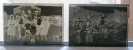 AVANT ET PENDANT LA BAIGNADE - PLAQUE DE VERRE PHOTO 9 X 6.5 CM - LOT DE 2 - Plaques De Verre