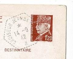 """Cachet Hexagonal Pointille """"Croiseur Jean De Vienne"""" Circ 1942 CP Entier Pétain 1.20F, Mention écrite """"Loire Interdite"""" - Postmark Collection (Covers)"""