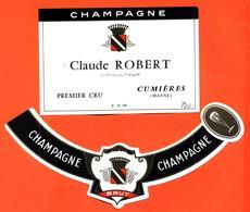étiquette + Collerette De Champagne Brut Claude Robert à Cumières - 75 Cl - Champagne