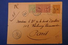 107 NOUVELLE CALEDONIE LETTRE 1906 SIGNEE ASSEZ RARE  RECOMMANDEE CACHET BLEU SUR PAIRE DE THIO A PARIS FG POISSONNIERE - New Caledonia