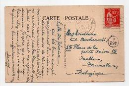 - Carte Postale LILLE Pour BRUXELLES (Belgique) 26.2.1935 - 90 C. Rouge Carminé Type Paix - - 1921-1960: Moderne