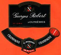étiquette + Collerette De Champagne Brut Georges Robert à Cumières - 75 Cl - Champagne
