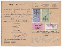 1967 - FISCAL TAXE PISCICOLE + SUPPLEMENT Sur CARTE De La SOCIETE De PECHE De MOULINS (ALLIER) - Fiscaux