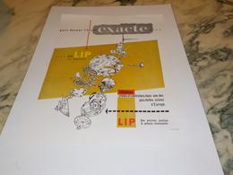 ANCIENNE PUBLICITE MONTRE LIP HEURE EXACTE 1954 - Bijoux & Horlogerie