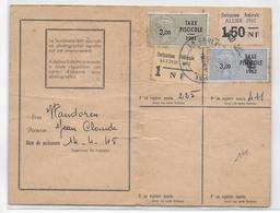1961 + 1962 - FISCAL TAXE PISCICOLE  Sur CARTE De La SOCIETE De PECHE De CHANTELLE (ALLIER) - Fiscaux