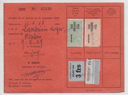 1968 - FISCAL TAXE PISCICOLE + SUPPLEMENT Sur CARTE De La SOCIETE De PECHE De MOULINS (ALLIER) - Fiscaux