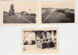 3 ORIGINELE FOTO'S KAZERNE BAUWIN HOOGBOOM KAPELLEN REGIMENT SPOORWEGTROEPEN / PARADEPLEIN / CONSTRUCTIE TOREN? / KEUKEN - Kapellen
