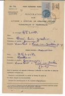 1951 - CARCAGNY (CALVADOS) - FISCAL Sur PROCURATION à EFFECTUER LES OPERATIONS POSTALES TELEGRAPHIQUES ET TELEPHONIQUES - Revenue Stamps