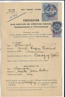 1953 - CARCAGNY (CALVADOS) - FISCAL Sur PROCURATION à EFFECTUER LES OPERATIONS POSTALES TELEGRAPHIQUES ET TELEPHONIQUES - Postmark Collection (Covers)