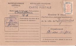 BASSES ALPES :- CASTELLANE Dateur A4 Sur CARTE RAVITAILLEMENT GENERAL - Marcofilia (sobres)