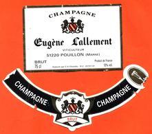 étiquette + Collerette Anciennes De Champagne Brut Eugène Lallement à Pouillon - 75 Cl - Champagne