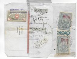 1920 - MIXTE FISCAL SUISSE Et FRANCAIS Sur LETTRE De CHANGE De LAUSANNE => AURILLAC (CANTAL) - Fiscaux
