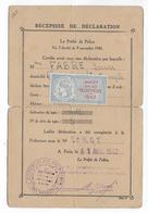 1943 - FISCAL VELOCIPEDES NON COLLE Avec CARTE RECEPISSE De DECLARATION De 1942 De PARIS - Fiscaux